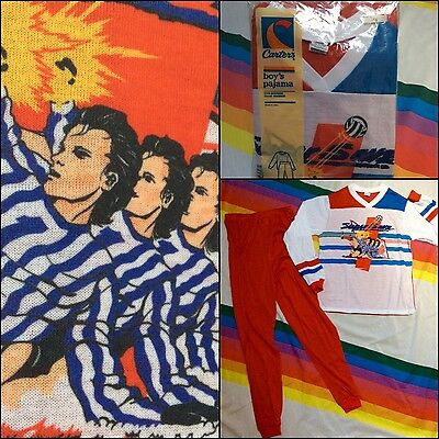 Soccer Color Block Stripes Vtg 80s ART Pajamas Jersey Shirt Tee NOS Carters 16