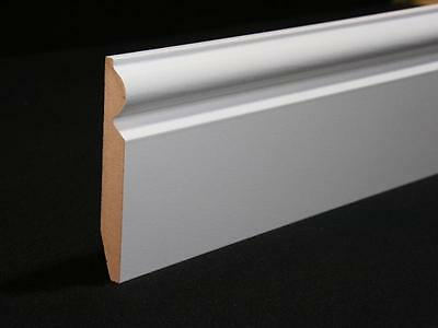 WHITE LAMINATE SKIRTING BOARDS 5 INCH HEIGHT 2.4m LENGTH PACK OF 5 = 12 metres