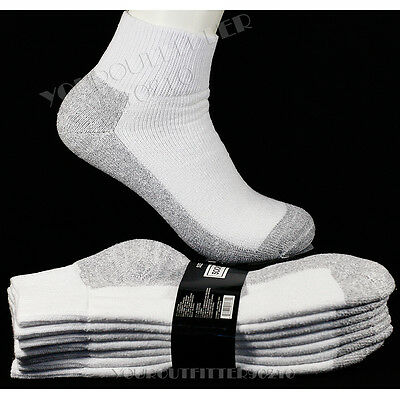 9-11 10-13 4 Pairs Men's Athletic Heavy Weight Cotton Ankle Socks  Bottom Gray