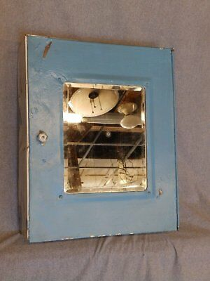 Vtg Industrial Metal Surface Mount Medicine Cabinet Beveled Mirror Old 948-16
