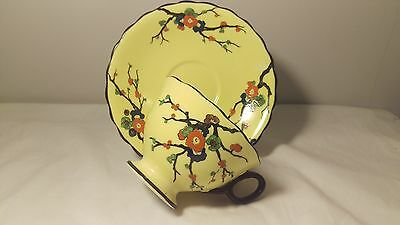 Atlas China Stoke on Trent Handpainted 6718 Yellow With Black Cup and Saucer Set