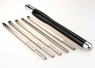 Mid Size Package of 5 Carbide Simple Woodturning Tools & Handle Wood Lathe Easy