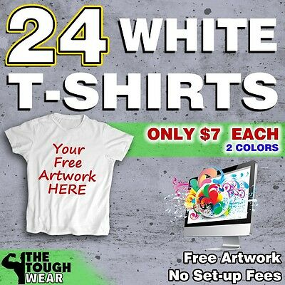 24 WHITE T-Shirts Gildan 100% Cotton With FREE 2-color Screen-Printed Artwork