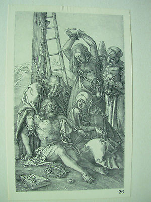 ALBRECHT DURER VINTAGE COPPER ENGRAVING LAMENTATION OVER CHRIST - PASSION No 12