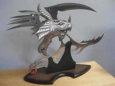 Dragon Head Sword With Stand Weapon 5 Metal Blades Display Collectable