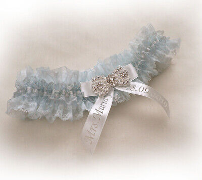Boxed WEDDING BRIDAL PERSONALIZED GARTER LIGHT BLUE ORGANZA IVORY LACE VINTAGE