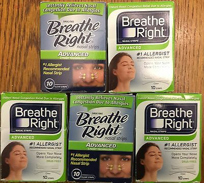 50 BREATHE RIGHT Nasal Strips ADVANCED Adult Size Nose Band Stop Snoring Breath