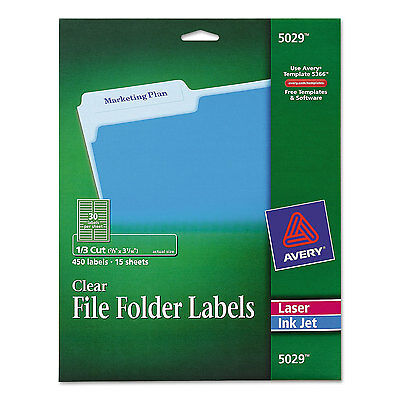Avery Clear File Folder Labels 1/3 Cut 2/3 x 3 7/16 450/Pack 5029