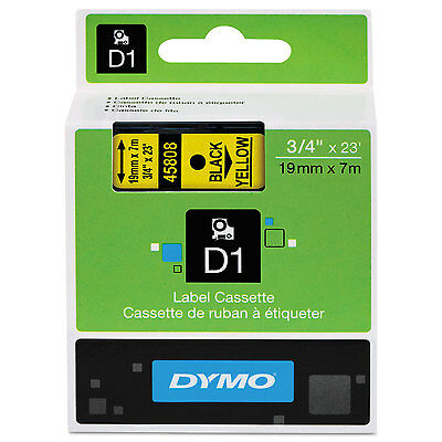 DYMO D1 High-Performance Polyester Removable Label Tape 3/4 x 23 ft Black on