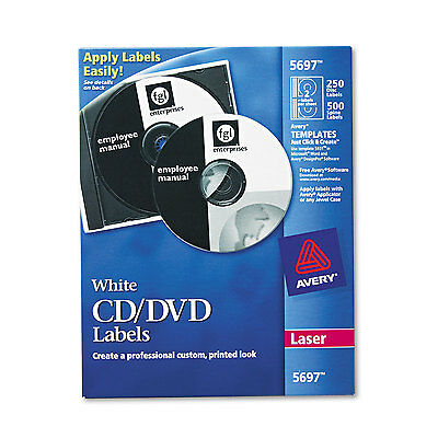 Avery Laser CD Labels Matte White 250/Pack 5697