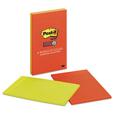 Post-it Notes Super Sticky Pads in Marrakesh Colors Lined 5 x 8 45-Sheet 4/Pack
