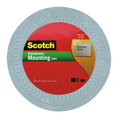 "Scotch Double-Coated Foam Tape 1/2"" x 36 yards 1"" Core White 401612"