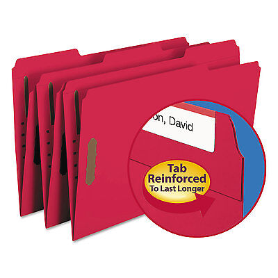 Smead Folders Two Fasteners 1/3 Cut Assorted Top Tab Legal Red 50/Box 17740