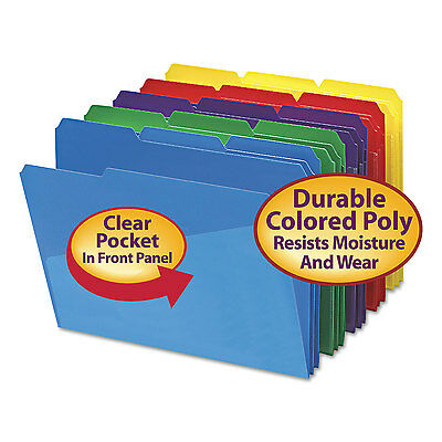 Smead Slash Pocket Poly File Folders 1/3 Cut Top Tab Letter Assorted 30/Box