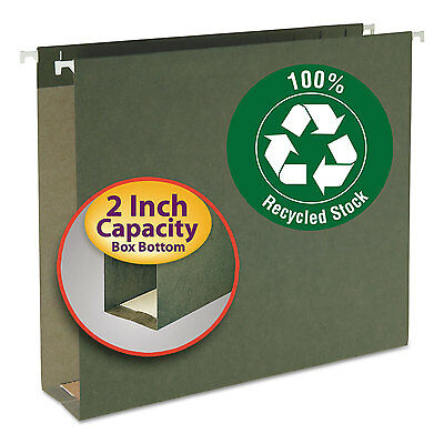 Smead Two Inch Capacity Box Bottom Hanging File Folders Letter Green 25/Box