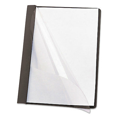 """Smead Poly Report Cover Tang Clip Letter 1/2"""" Capacity Clear/Black 25/Box 87453"""