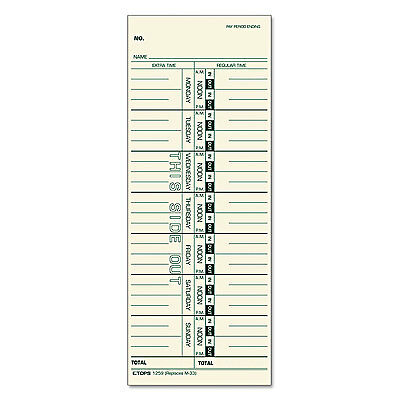 Tops Time Card for Acroprint/IBM/Lathem/Simplex Weekly 3 1/2 x 9 100/Pack 12593