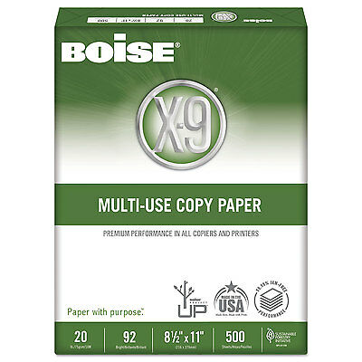 Boise X-9 Multi-Use Copy Paper 92 Bright 20lb 8-1/2 x 11 White 2500 Sheets