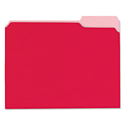 Universal Recycled Interior File Folders 1/3 Cut Top Tab Letter Red 100/Box