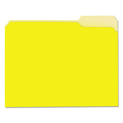 Universal Recycled Interior File Folders 1/3 Cut Top Tab Letter Yellow 100/Box