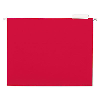 Universal One Hanging File Folders 1/5 Tab 11 Point Stock Letter Red 25/Box
