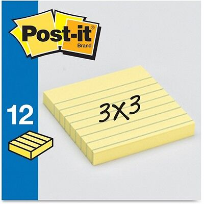 """3M Post-it Notes Lined 3""""x3"""" 100 Sheets/PD 12/PK Yellow 630SS"""