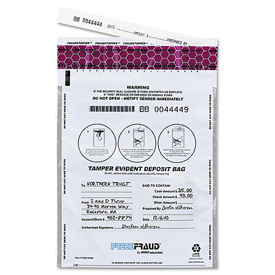 MMF Industries FREEZFraud Tamper-Evident Deposit Bags 9 x 12 White 100/Box