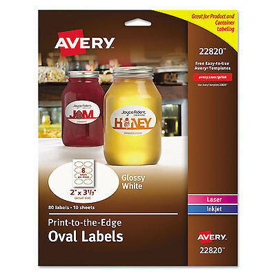 Avery Oval True Print Easy Peel Labels 2 x 3 1/3 Glossy White 80/Pack 22820