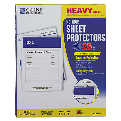 """C-Line Top-Load No-Hole Polypropylene Sheet Protector Heavyweight Clear 2"""" 25"""