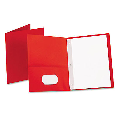 "Oxford Twin-Pocket Folders with 3 Fasteners Letter 1/2"" Capacity Red 25/Box"