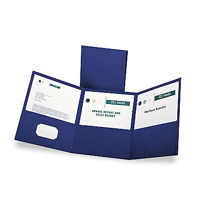 Oxford Tri-Fold Folder w/3 Pockets Holds 150 Letter-Size Sheets Blue 59802