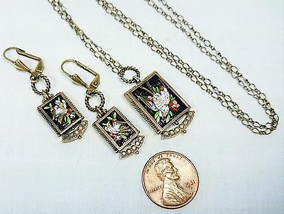 Bird Micro Mosaic Necklace & Earring Set, Made in Italy, Grand Tour, Antique