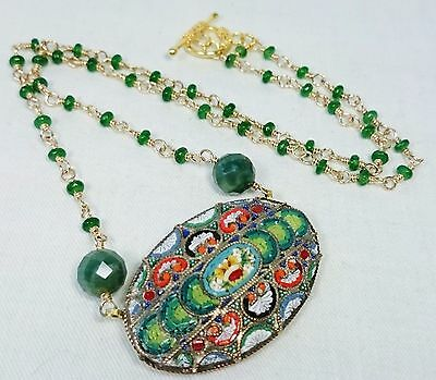 Ornate Micro Mosaic Pendant Necklace, Italy, Green Jade & Jasper, Grand Tour