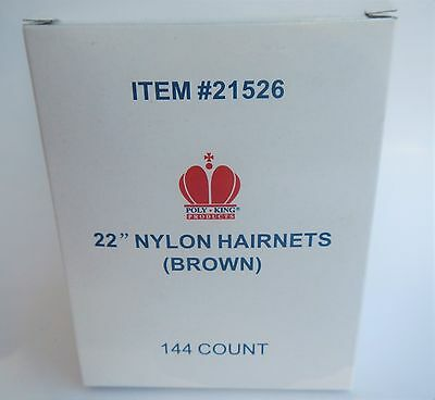 """Poly King 21526 Brown 22"""" Nylon Hairnets 144 Count"""