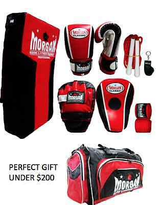 Boxing Gloves Focus Mitts PAD Kick Shield Skipping Rope Kit S M L XL TRAINER SET