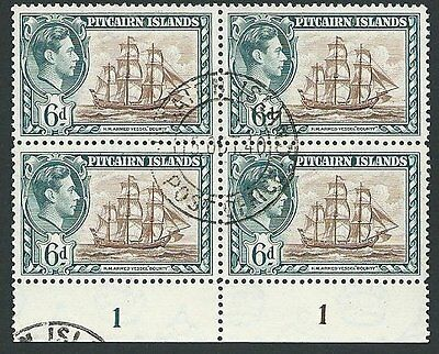 PITCAIRN 1940 GVI 6d plate block of 4 fine used..........................45984