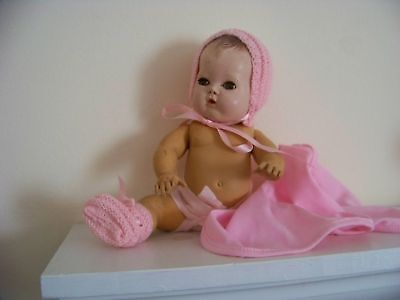"""Beautiful Bonnet&booties Hand Knit By Me For 11"""" Tiny Tears Betsy Wetsy No Doll"""