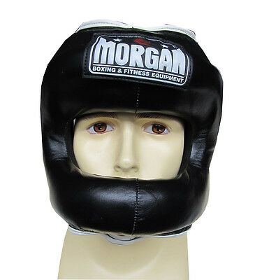 MORGAN NOSE PROTECTOR LEATHER SPARRING HEAD GUARD chin cheek MMA BOXING COMBAT