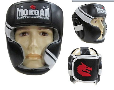 Morgan Professional Leather Head Guard Gel Enforced Mma Boxing