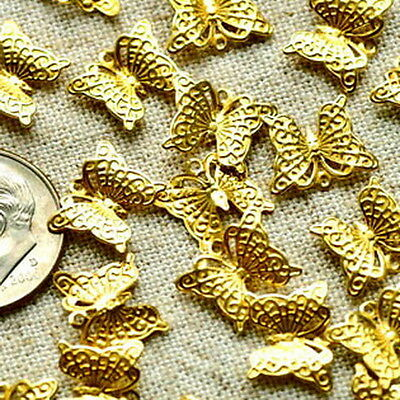 Solid Brass Stamping Filigree Pendant Butterfly Embellishment Charms b10(30pcs)