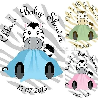 60 Personalised Blue/Pink/Brown Baby Shower Zebra Print Envelope Seal Sticker