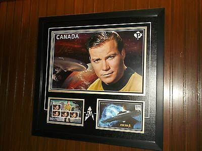 Star Trek 2016 50Th Limited Edition Canada Stamp Framed Signed Shatner Cpt Kirk