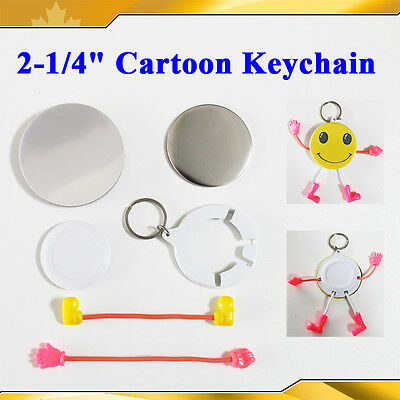 "Cartoon Character Keychain 100Sets 2-1/4"" 58mm Supply Parts for Button Maker"