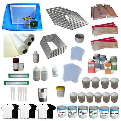 6 Color Full set silk screen printing kit include stretched frames squeegees ink