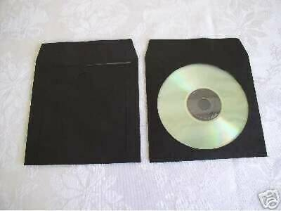 1000  Black Cd / Dvd Paper Sleeve With Window Psp40
