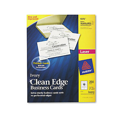 Avery Two-Side Printable Clean Edge Business Cards Laser 2 x 3 1/2 Ivory 200