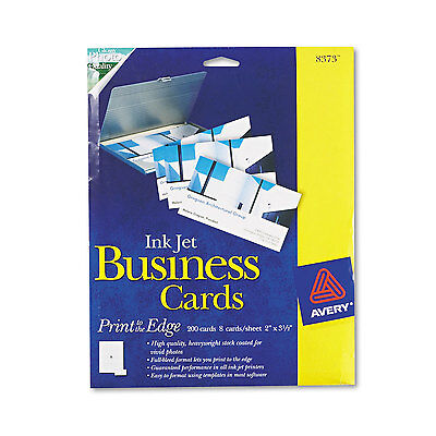 Avery Print-to-the-Edge Microperf Business Cards Inkjet 2x3 1/2 Wht Gloss 200/BX