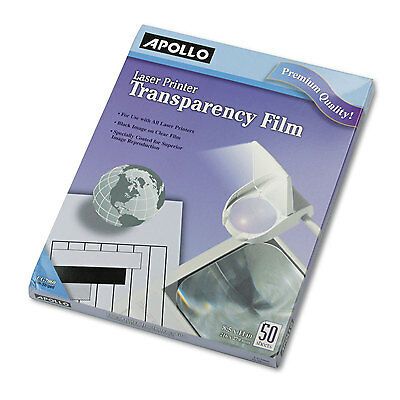 Apollo B/W Laser Transparency Film w/o Sensing Stripe Letter Clear 50/Box CG7060