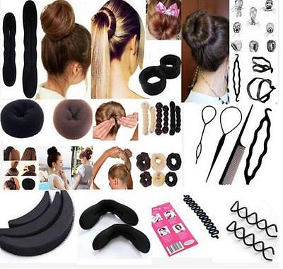 black Magic Sponge Clip Foam Bun Curler Twist Hair Styling Maker Tool set QW