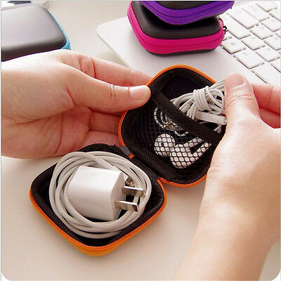 Mini Colorful Square Case Bag Holder Storage Box for In-ear Headphones Headset